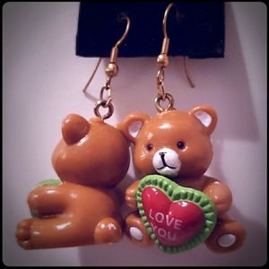 "Vintage Funky ""Love You"" Teddy Bear Heart Earrings"